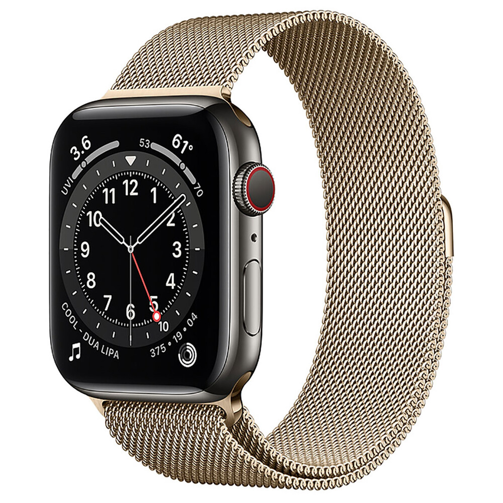 Купить Смарт-часы Apple Watch Series 6 GPS + Cellular, 44mm Graphite Stainless Steel Case with Gold Milanese Loop (M0GG3   M0GX3)
