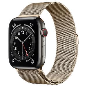 Купить Смарт-часы Apple Watch Series 6 GPS + Cellular, 44mm Graphite Stainless Steel Case with Gold Milanese Loop (M0GG3/M0GX3)