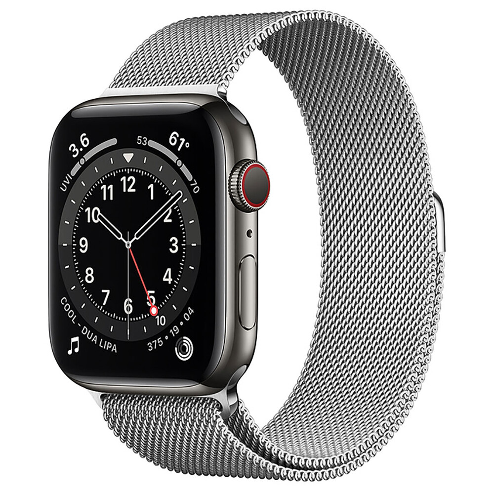 Купить Смарт-часы Apple Watch Series 6 GPS + Cellular, 44mm Graphite Stainless Steel Case with Silver Milanese Loop (M0GG3   M0GX3)