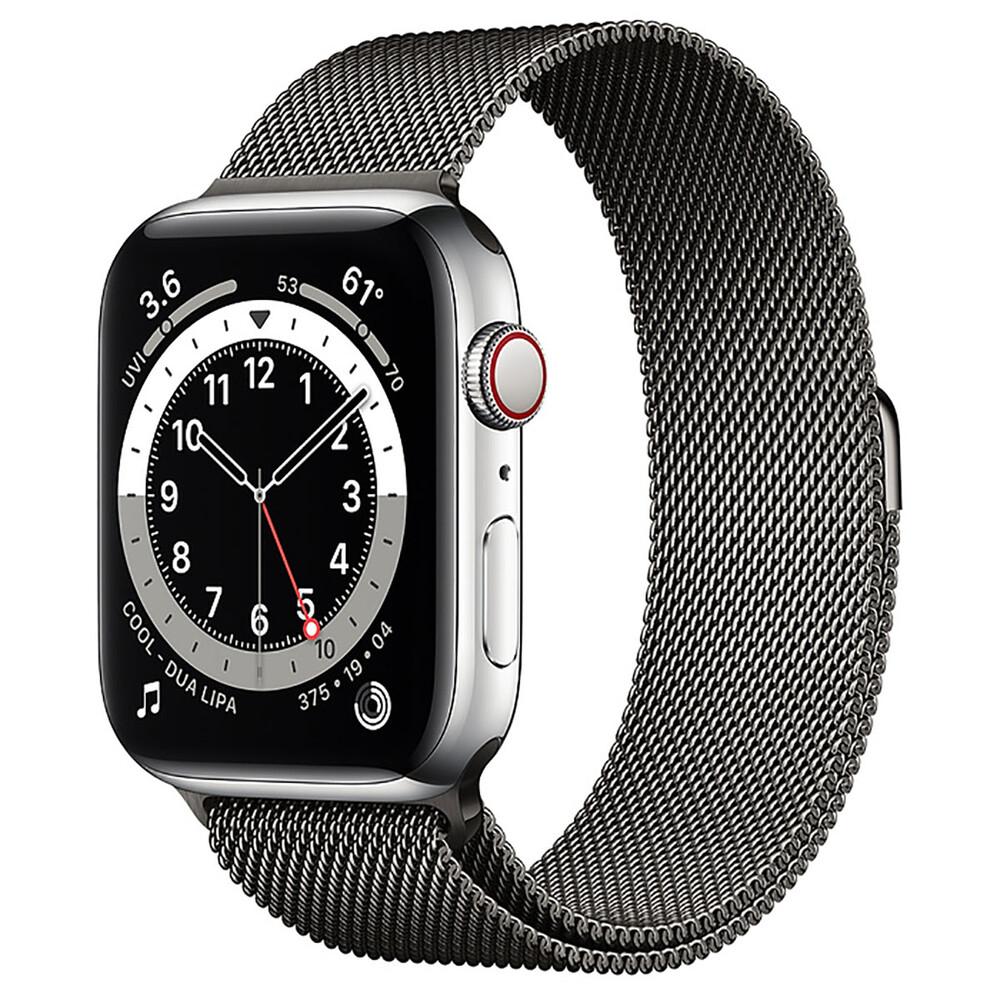 Купить Смарт-часы Apple Watch Series 6 GPS + Cellular, 44mm Silver Stainless Steel Case with Graphite Milanese Loop (M0GF3   M0GW3)