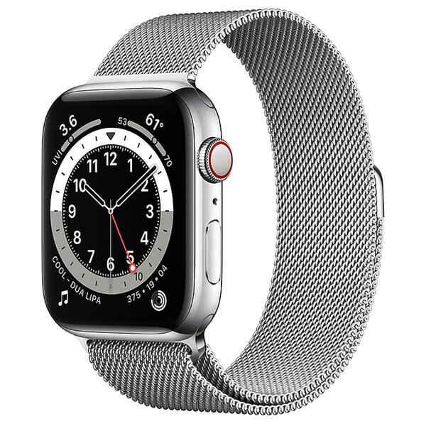 Смарт-часы Apple Watch Series 6 GPS + Cellular, 44mm Silver Stainless Steel Case with Silver Milanese Loop (M07M3   M09E3)