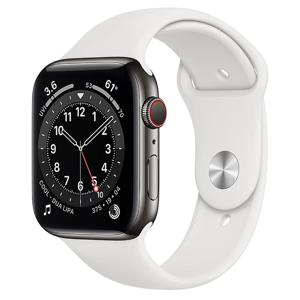 Купить Смарт-часы Apple Watch Series 6 GPS + Cellular, 44mm Graphite Stainless Steel Case with White Sport Band (M0GG3   M09D3)