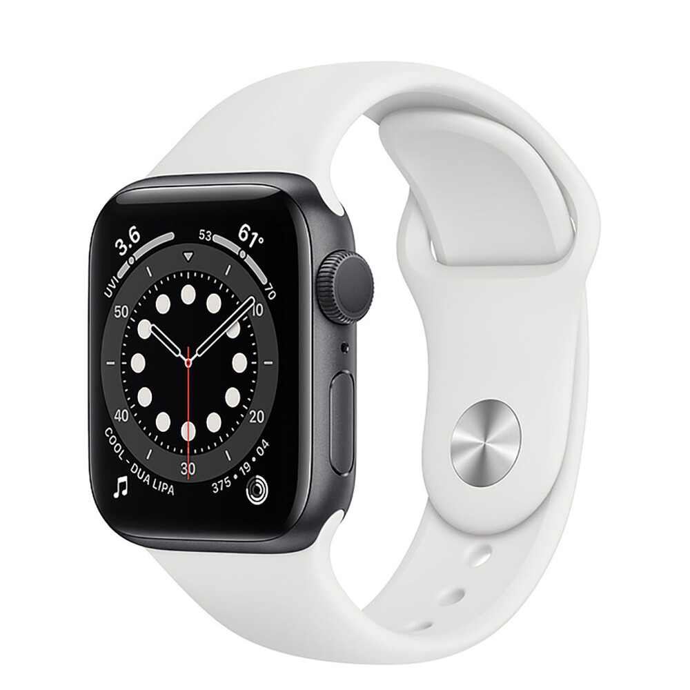 Купить Смарт-часы Apple Watch Series 6 GPS, 40mm Space Gray Aluminum Case with White Sport Band (MG1A3)