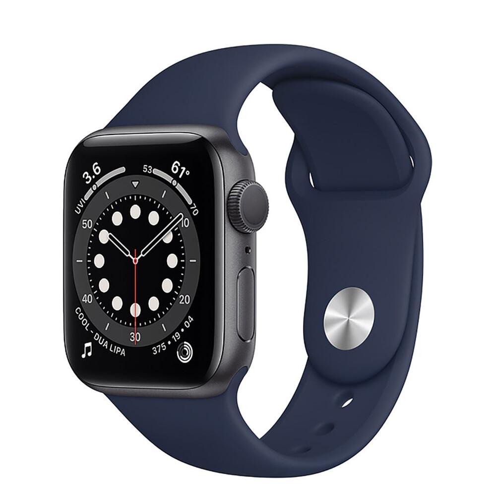Купить Смарт-часы Apple Watch Series 6 GPS, 40mm Space Gray Aluminum Case with Deep Navy Sport Band (MG1A3)