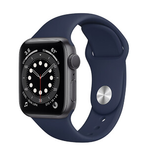 Купить Смарт-часы Apple Watch Series 6 GPS, 40mm Space Gray Aluminum Case with Deep Navy Sport Band (MG1A3)