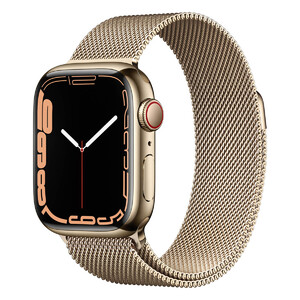 Купить Смарт-часы Apple Watch Series 7 GPS + Cellural, 45mm Gold Stainless Steel Case with Gold Milanese Loop (MKJG3)