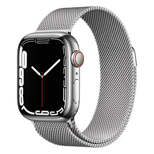 Купить Смарт-часы Apple Watch Series 7 GPS + Cellural, 45mm Silver Stainless Steel Case with Silver Milanese Loop (MKJE3)