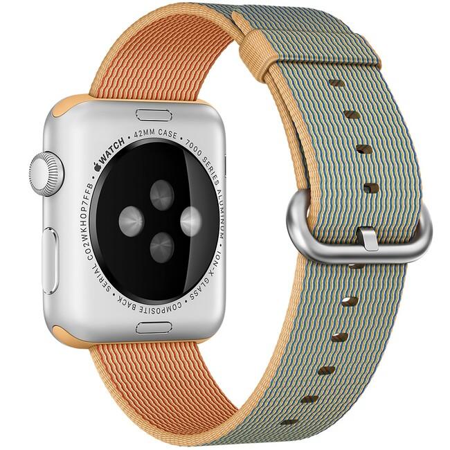 Нейлоновый ремешок Woven Nylon Gold/Royal Blue для Apple Watch 42mm