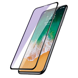 Купить Полноэкранное защитное стекло Baseus 0.2mm Arc-Surface Anti-Blue Light Black для iPhone XS Max