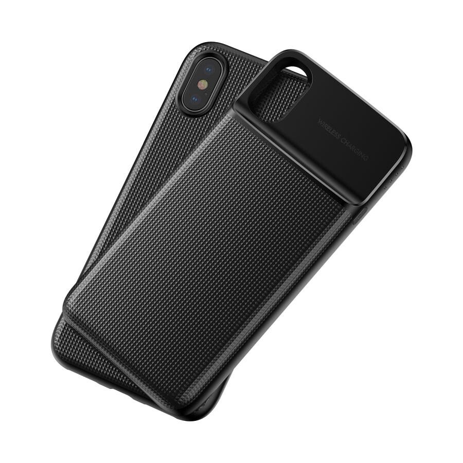 Магнитный чехол с внешним аккумулятором Baseus 1+1 Wireless Charge Backpack 5000mAh Black для iPhone X/XS