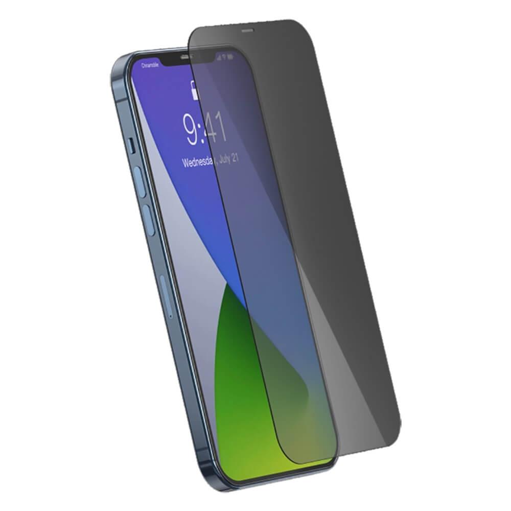 Купить Защитное стекло антишпион Baseus Anti-Peeping Tempered Glass 0.3mm Black для iPhone 12 Pro Max (2 шт.)