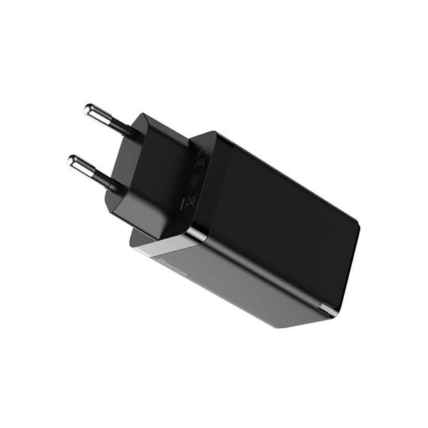 Быстрое сетевое зарядное устройство Baseus GaN2 Pro Quick Charger 2 Type-C+USB-A Black 65W