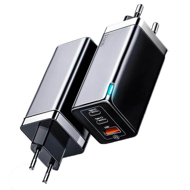 Купить Быстрое зарядное устройство Baseus GaN Charger 65W Fast Charger для iPhone | MacBook (Black)