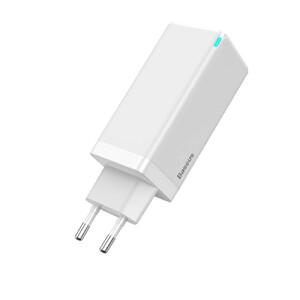 Купить Быстрое зарядное устройство Baseus GaN Charger 65W Fast Charger для iPhone  | MacBook (White)