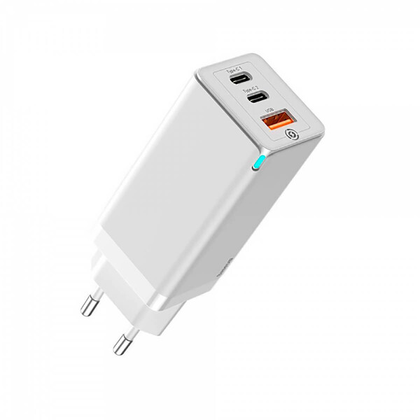 Быстрое сетевое зарядное устройство Baseus GaN2 Pro Quick Charger 2 Type-C+USB-A White 65W (EU)