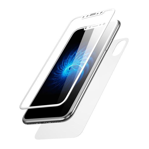 Переднее + заднее защитное стекло Baseus Glass Film Set White для iPhone X | XS