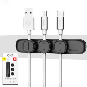 Купить Магнитный держатель для кабелей Baseus Peas Cable Clip Black