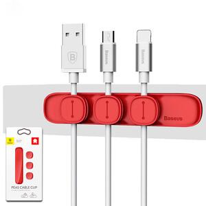 Купить Магнитный держатель для кабелей Baseus Peas Cable Clip Red