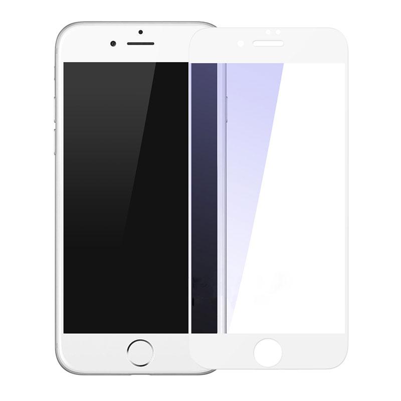 Купить Защитное стекло Baseus Silk-Screen Anti-Blue Light 0.2mm White для iPhone 7 | 8 | SE 2020