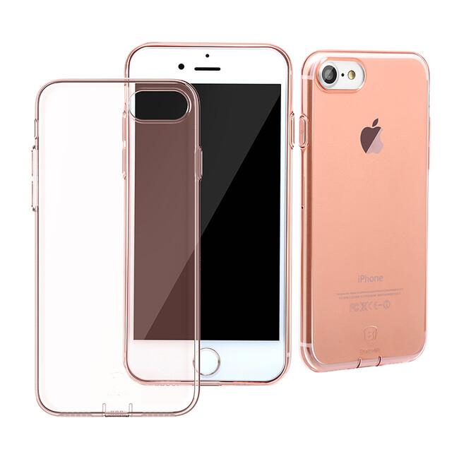 Защитный чехол Baseus Simple Series With Pluggy Transparent/Rose Gold для iPhone 7