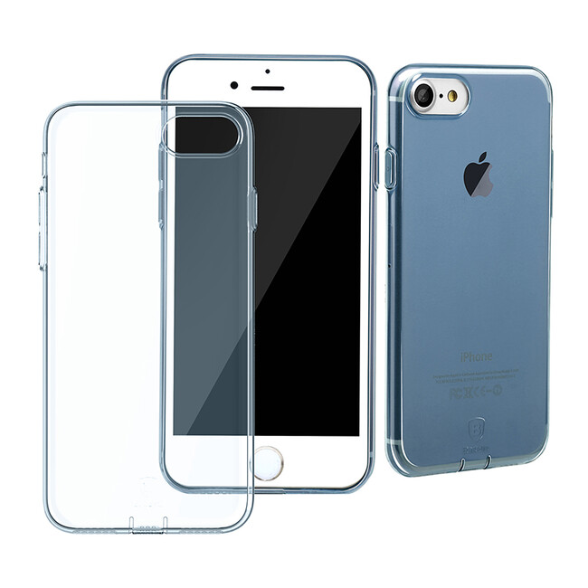 Защитный чехол Baseus Simple Series With Pluggy Transparent/Blue для iPhone 7