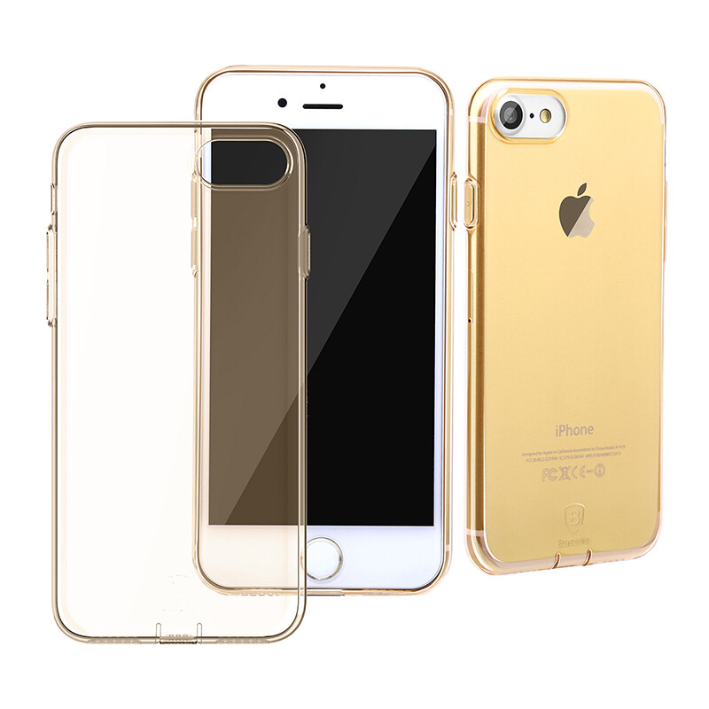 Защитный чехол Baseus Simple Series With Pluggy Transparent/Tyrant Gold для iPhone 7/8
