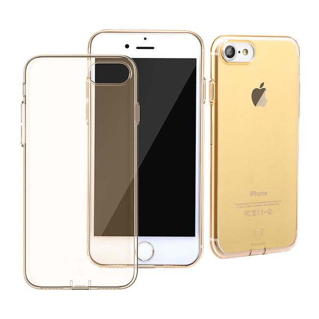 Защитный чехол Baseus Simple Series With Pluggy Transparent/Tyrant Gold для iPhone 7