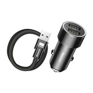 Купить Автозарядка Baseus Small Screw Dual USB Black с кабелем Lightning to USB
