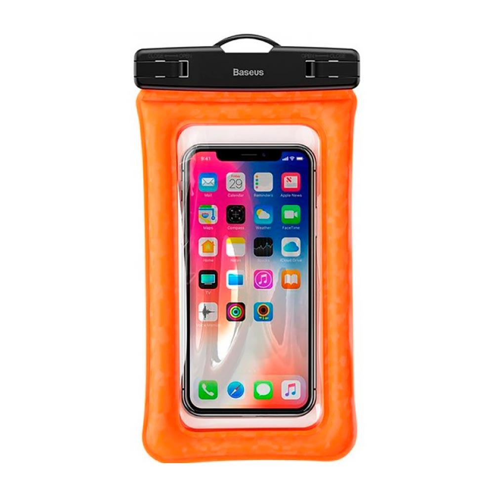 """Купить Универсальный водонепроницаемый чехол Baseus Waterproof Bag Orange для смартфонов до 6"""""""