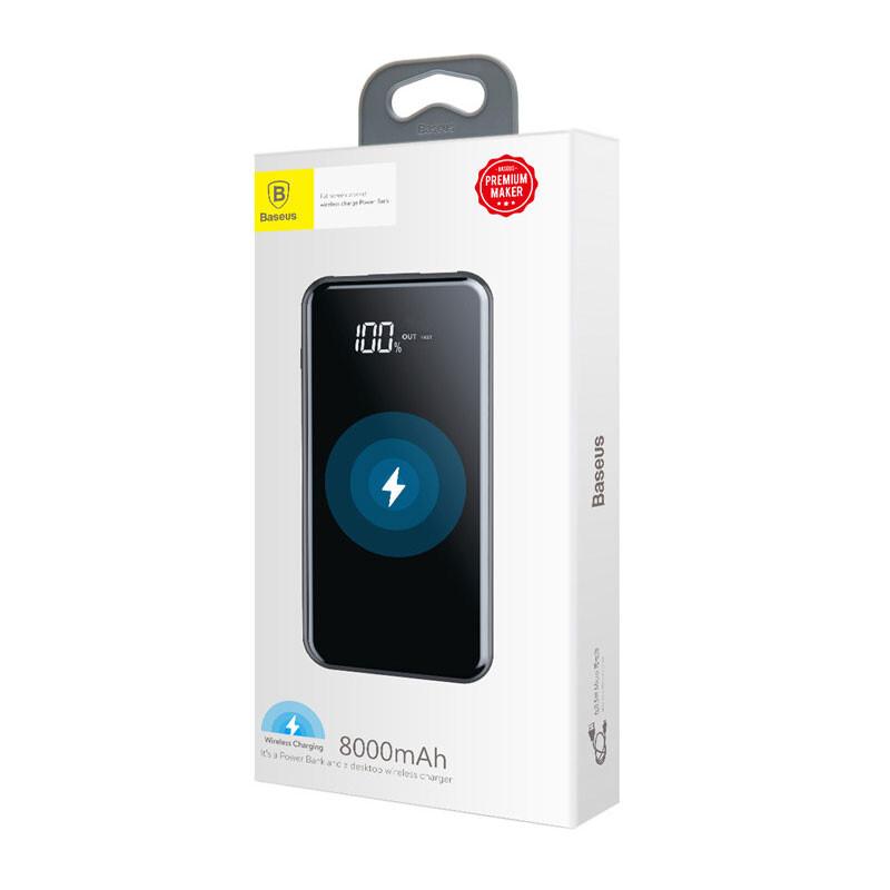 Внешний аккумулятор с дисплеем и беспроводной зарядкой Baseus Wireless Charger 8000mAh