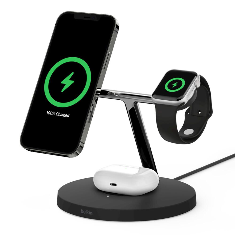 Купить Беспроводная зарядка Belkin 3 in 1 Wireless Charger with MagSafe Black для iPhone | Apple Watch | AirPods