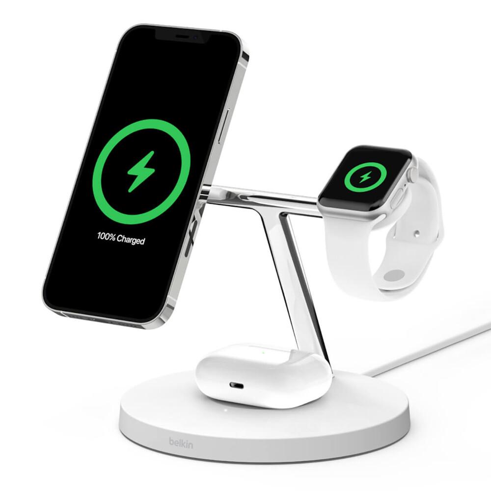Купить Док-станция Belkin 3 in 1 Wireless Charger with MagSafe White для iPhone   Apple Watch   AirPods