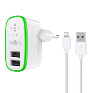 Купить Зарядное устройство Belkin Dual USB Home Charger White with Lightning Cable (10 Watt/2.1 Amp)