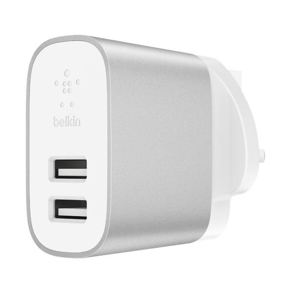 Зарядное устройство Belkin Wall Charger Dual USB Silver 24W + EU адаптер