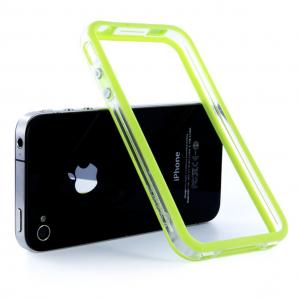 """Купить Чехол  Apple """"Бампер"""" для iPhone 4/4S Прозрачный/салатовый"""