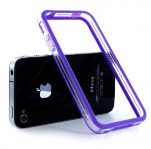 """Купить Чехол  Apple """"Бампер"""" для iPhone 4/4S Прозрачный/фиолетовый"""