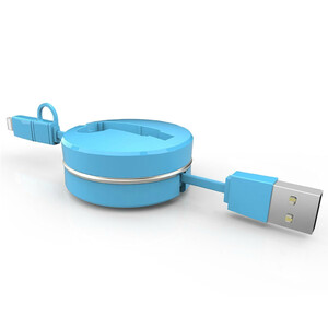 Купить Кабель-рулетка CAFELE Retractable USB to Lightning/Micro USB Blue