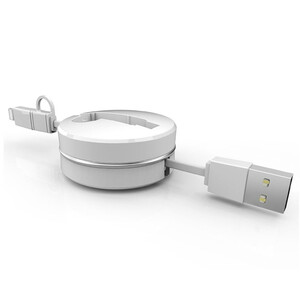 Купить Кабель-рулетка CAFELE Retractable USB to Lightning/Micro USB White