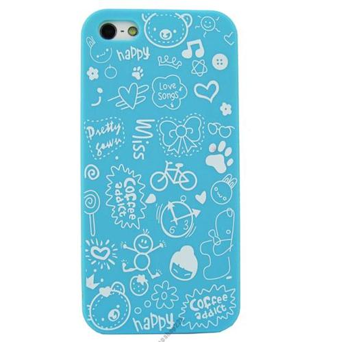 Голубой чехол Candy Cartoon для iPhone 5/5S/SE