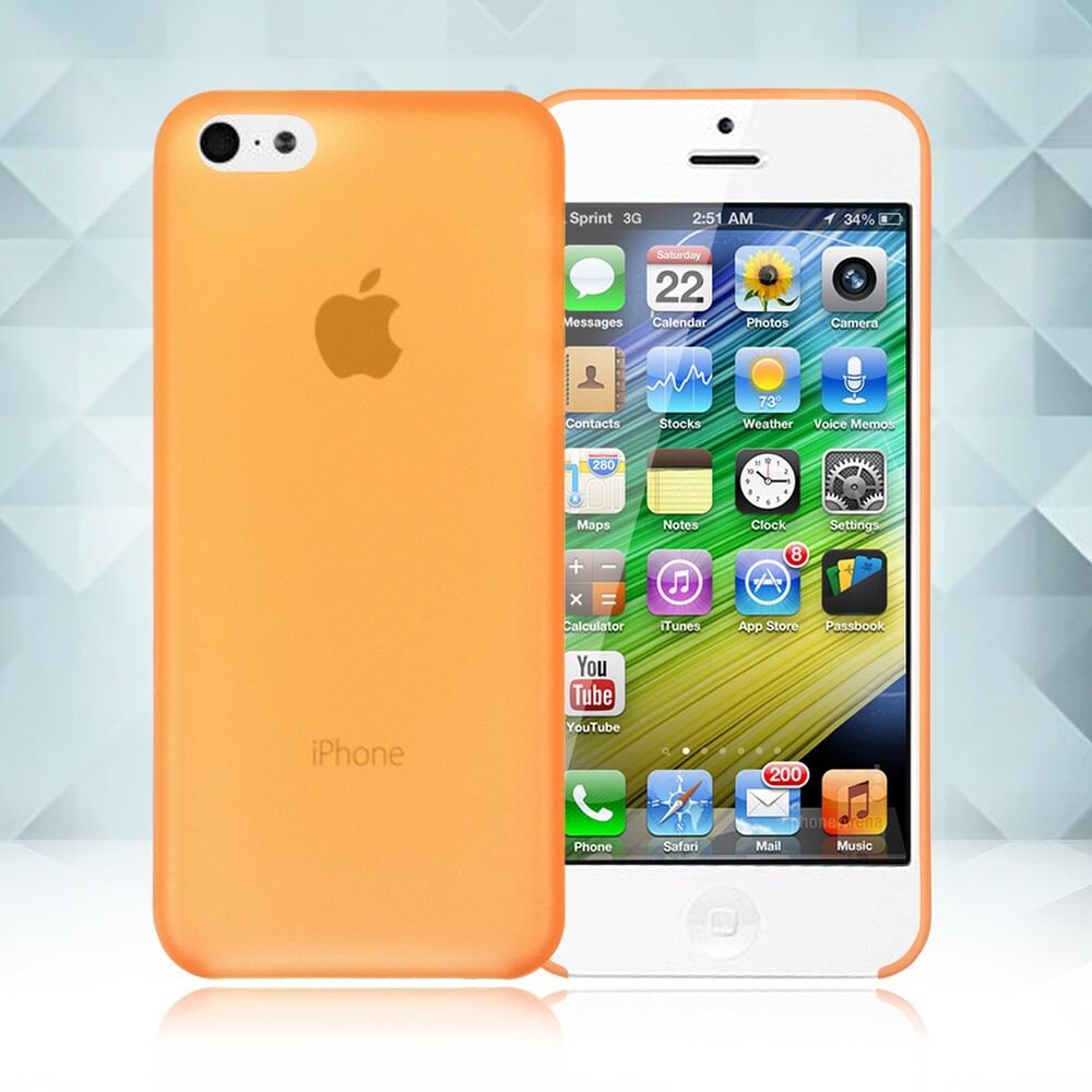 Оранжевый ультратонкий чехол O'Thinner 0.2mm для iPhone 5C