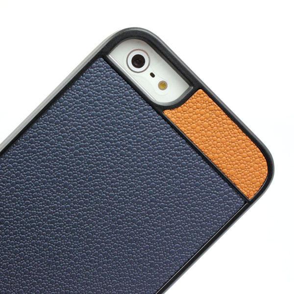 Чехол Litchi Grain с кожаной накладкой для iPhone 5/5S/SE