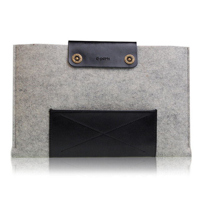 Чехол d-park Woolfelt Light Grey & Black для Macbook Air 11