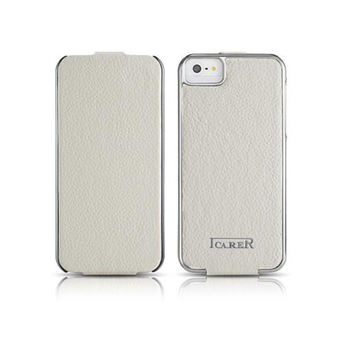 Чехол iCarer Electroplating Flip White для iPhone 5/5S/SE