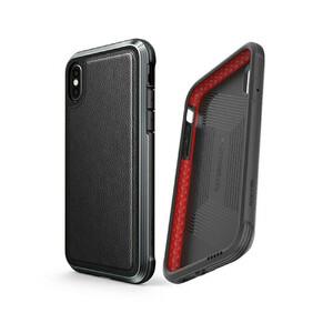 Купить Противоударный чехол X-Doria Defense Lux Black Leather для iPhone X/XS