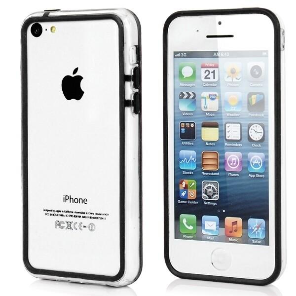 Прозрачный черный бампер для iPhone 5C