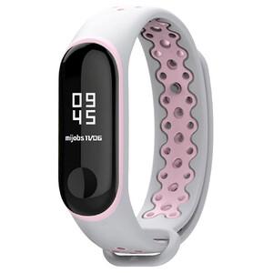 Купить Силиконовый ремешок Mijobs Sport Grey/Pink для фитнес-браслета Xiaomi Mi Band 3/4