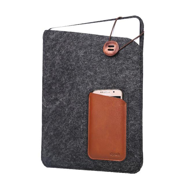 "Войлочный чехол d-park Eagle Eye Dark Gray с карманами под iPhone/iPad для MacBook 12"""