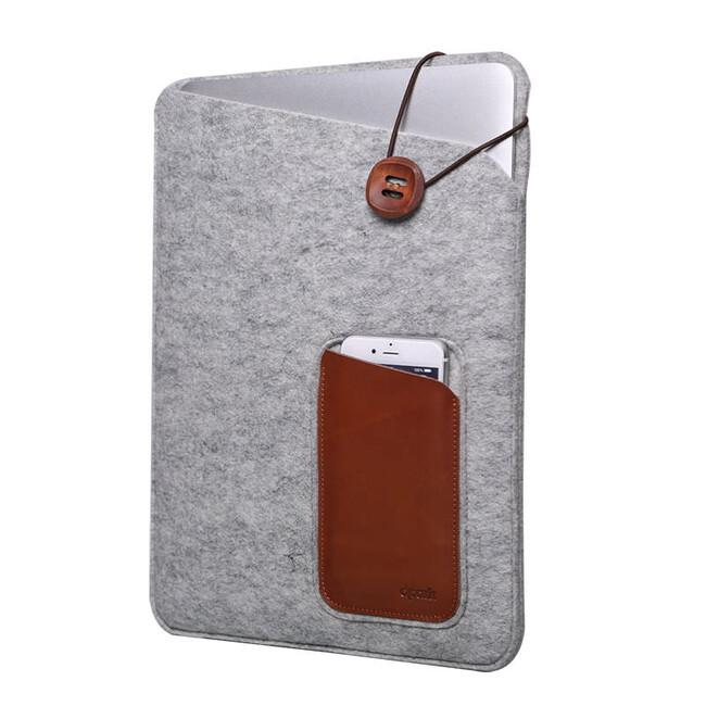 """Войлочный чехол d-park Eagle Eye Light Gray с карманами под iPhone/iPad для MacBook 12"""""""