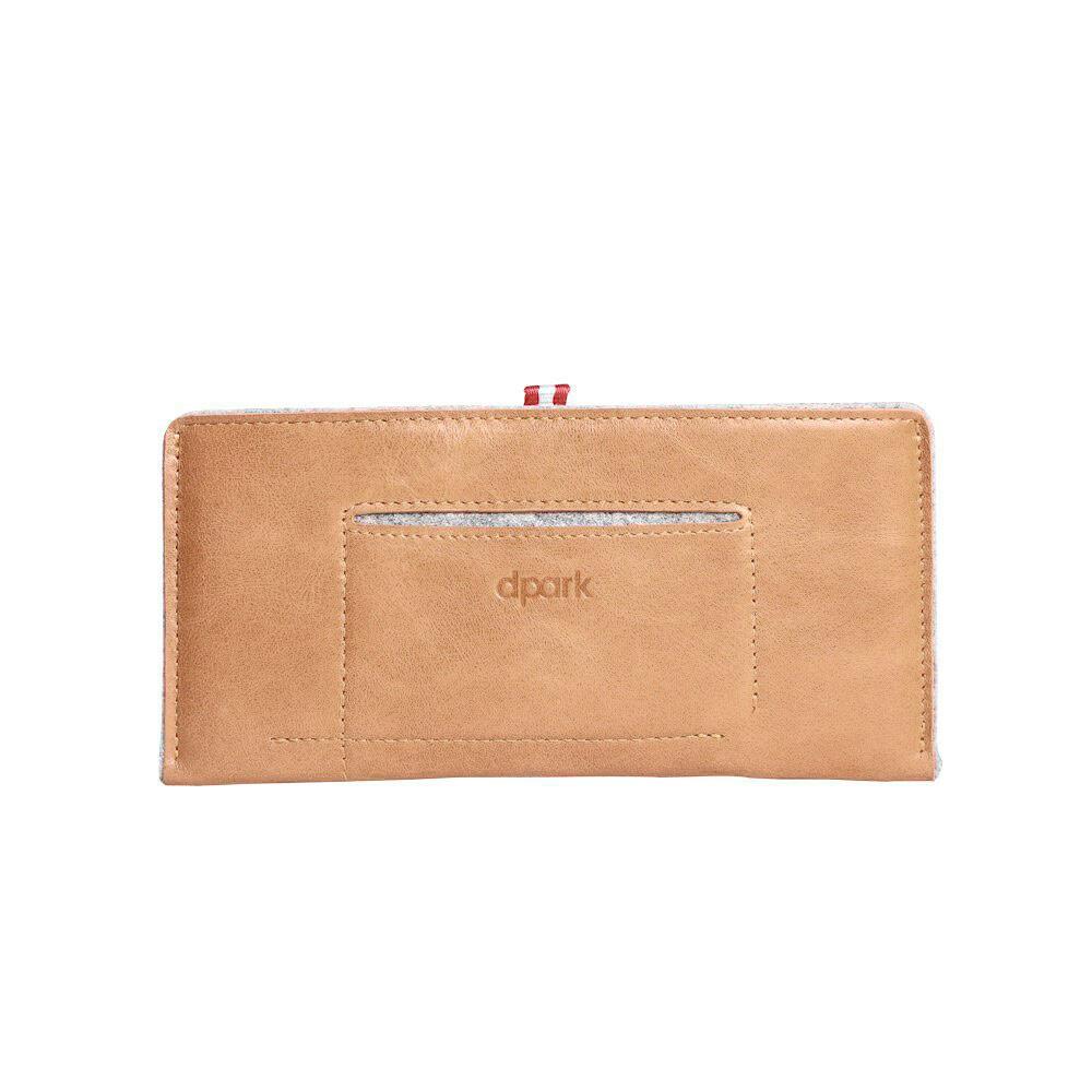 Кожаный коричневый чехол-карман d-park Handmade Sleeve для iPhone 6 Plus/6s Plus/7 Plus/8 Plus/X & Samsung S7/S6 Edge/S8 Plus/S9 Plus