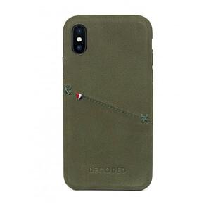 Купить Кожаный чехол с отделением для карт Decoded Back Cover Olive Green для iPhone X/XS